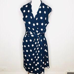 ELIZA J Dress Size 8 Polka Dots Navy Wrap Waist